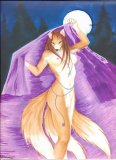 herm Kitsune in moonlight Kierstal original art